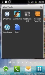 Screengrab of apps folder